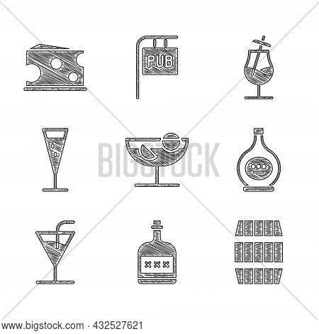 Set Cocktail, Alcohol Drink Rum Bottle, Wooden Barrel, Bottle Of Cognac Or Brandy, Glass Champagne,