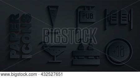 Set Pack Of Beer Bottles, Saloon Door, Cocktail, Alcohol 18 Plus, Street Signboard With Pub And Glas