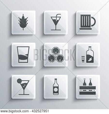 Set Beer Bottle, Pack Of Beer Bottles, Vodka With Pepper And Glass, Wooden Barrels, Martini, Glass V