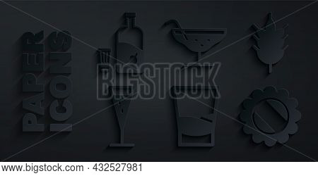 Set Glass Of Vodka, Hop, Champagne, Bottle Cap, Cocktail And Vodka With Pepper And Glass Icon. Vecto