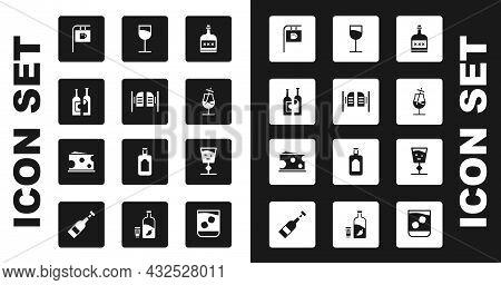 Set Alcohol Drink Rum Bottle, Saloon Door, Bottles Of Wine, Street Signboard With Bar, Cocktail, Win