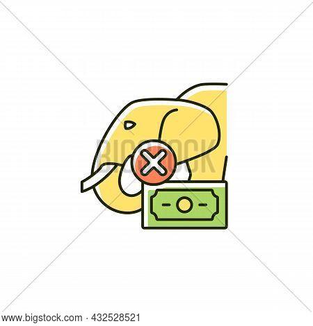 Illegal Wildlife Trade Rgb Color Icon. Wild Animals Trafficking. Poaching. Unlawful Elephant And Tig