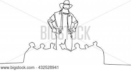 Agricultural Worker Standing Behind Burlap Sacks And Holding A Sack On His Shoulder. Vector Illustra