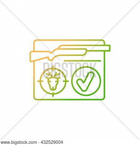 Resident Hunting License Gradient Linear Vector Icon. Hunt Permit, Endorsement. Official Document. C