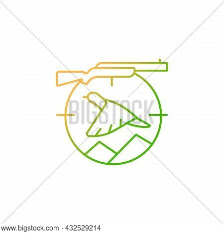 Upland Hunting Gradient Linear Vector Icon. Wingshooting. Terrestrial Birds. Hunting With Dogs. Purs