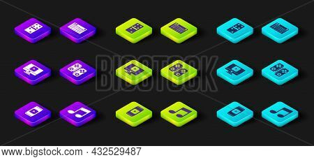Set Online Play Video, Music Note, Tone, Gamepad, Synthesizer And Domino Icon. Vector