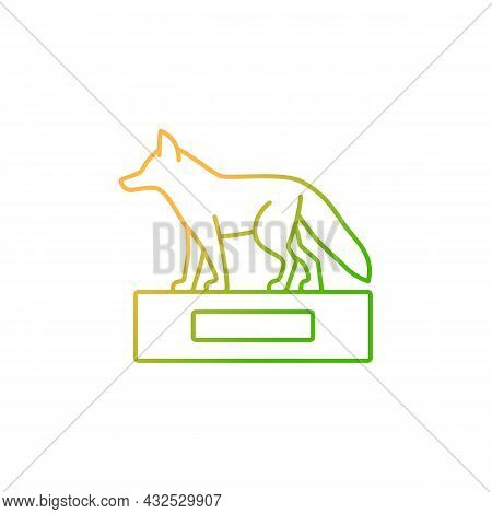 Taxidermy Gradient Linear Vector Icon. Preserving And Stuffing Wild Dead Animals. Animal Body Displa