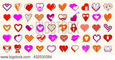 Hearts Big Vector Set Of Different Shapes And Concepts Logos Or Icons, Love And Care, Health And Car