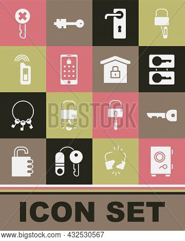 Set Safe, Key, Casting Keys, Door Handle, Mobile Graphic Password, Car With Remote, Wrong And House