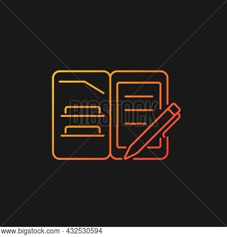 Portfolio Folder Gradient Vector Icon For Dark Theme. Keeping Paper Documents Safely. Carrying Paper