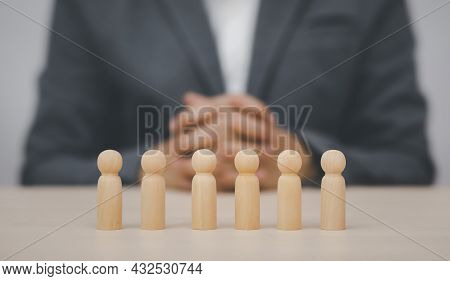 Ideas And Thought Imaginations Concept, Man Hand Touch Wooden Human Resources Officer Looking For Le