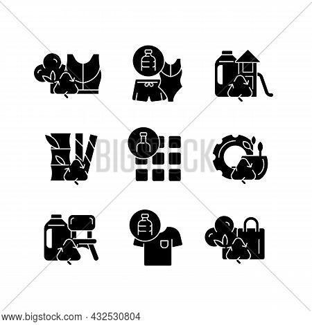 Natural Resources Conservation Black Glyph Icons Set On White Space. Reuse Plastic Products. Eco-fri