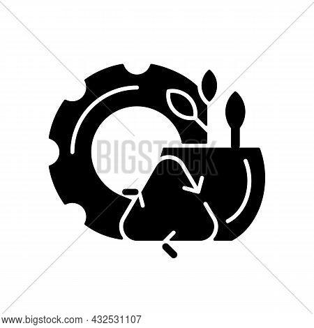Recycled Rubber Planters Black Glyph Icon. Zero Waste Lifestyle. Eco Friendly Plant Pots. Eco-consci