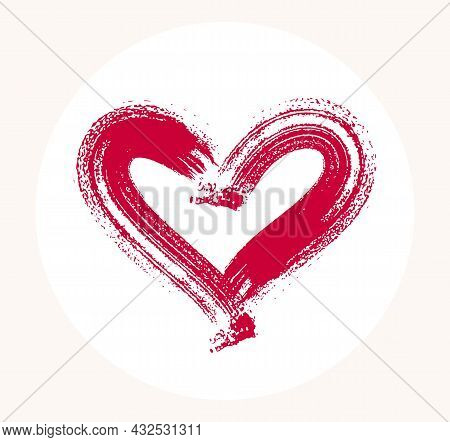 Hand Drawn Hearts Vector Logo Or Icon, Sketch Doodle Graphic Design Element, Brush Stroke Painted He