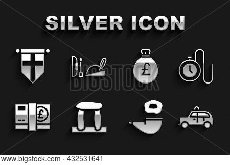 Set Stonehenge, Watch With A Chain, Taxi Car, Smoking Pipe, Pound Sterling Money, Money Bag Pound, E