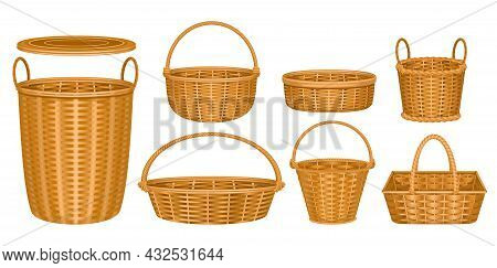Wicker Basket Set With Isolated Images Of Wooden Baskets With Wooden Baskets On Pure Blank Backgroun