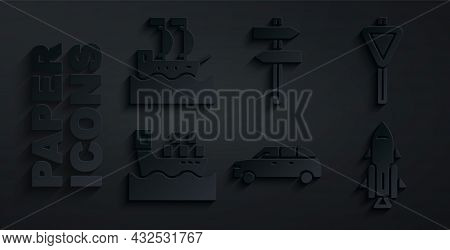 Set Hatchback Car, Road Traffic Signpost, Cargo Ship With Boxes, Rocket Fire, And Sailboat Icon. Vec