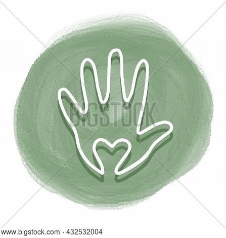 Stiker For Seller «handmade», Hand And Heart Drawn White One Line, Isolated Simple Drawing On Green