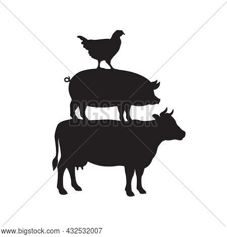 Domestic Livestock Graphic Symbol. Pyramid From Cow, Pig And Chicken Sign Isolated On White Backgrou