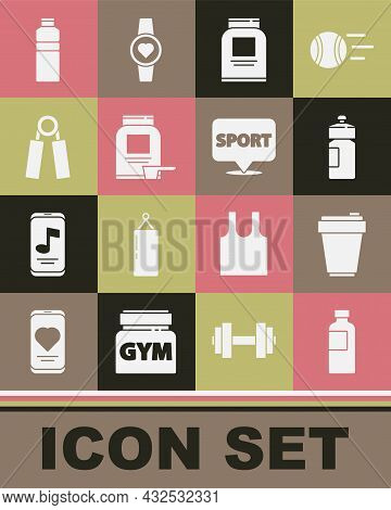 Set Fitness Shaker, Sports Nutrition, Expander, And Location Gym Icon. Vector