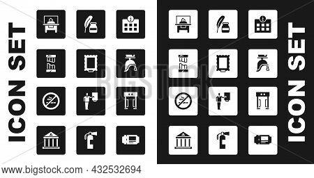 Set Information, Picture, Broken Ancient Column, Glass Showcase Exhibit, Roman Army Helmet, Feather