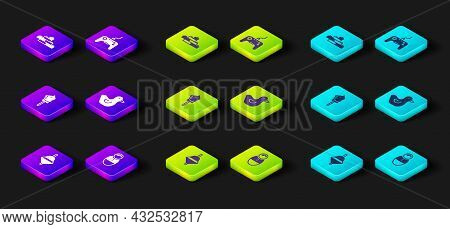 Set Whirligig Toy, Tumbler Doll, Toy Horse, Rubber Duck, Gamepad And Building Block Bricks Icon. Vec