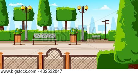 Summer Day City Park Central Lane With Benches Flowering Shrubs In Planters Lanterns Conifers Compos