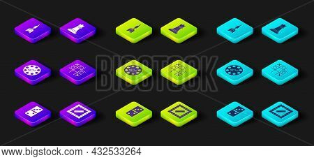 Set Domino, Board Game, Twister, Tic Tac Toe, Chess And Dart Arrow Icon. Vector