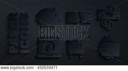 Set Shopping Cart And Dollar, Stacks Paper Money Cash, Laptop With, Wallet, Tearing Banknote And Pig