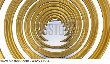 Modern Hall Backdrop With Helix. Helix Graphic Design. 3d Illustration