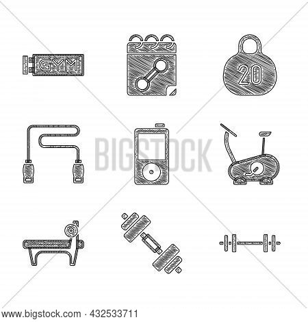 Set Music Player, Dumbbell, Barbell, Stationary Bicycle, Bench With Barbel, Jump Rope, Kettlebell An