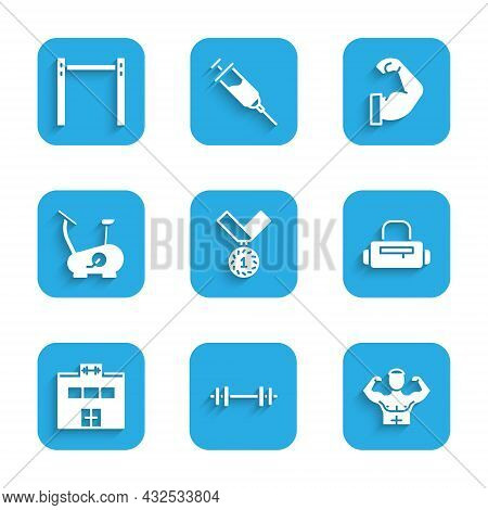 Set Medal, Barbell, Bodybuilder Muscle, Sport Bag, Gym Building, Stationary Bicycle, And Horizontal