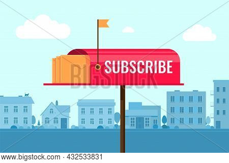 Subscribe To Newsletter Concept With Mailbox On Town Background. Subscription Concept Vector Eps Ban