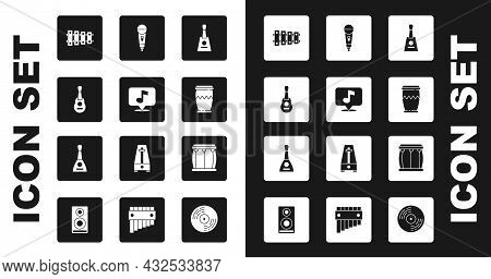 Set Balalaika, Musical Note, Guitar, Xylophone, Drum, Microphone, And Icon. Vector
