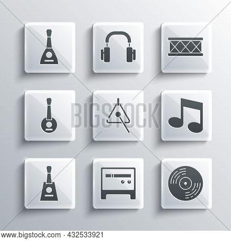 Set Guitar Amplifier, Vinyl Disk, Music Note, Tone, Triangle, Balalaika, Banjo, And Drum Icon. Vecto