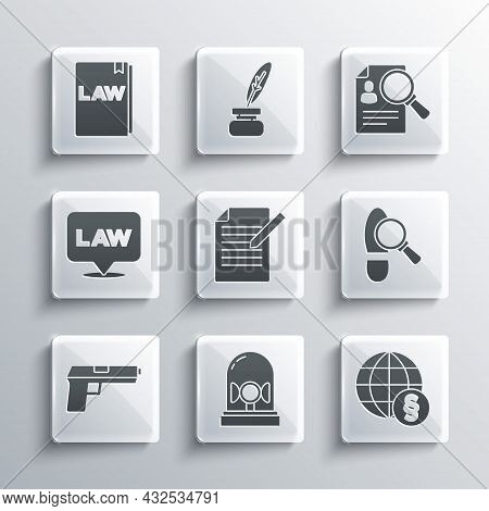 Set Flasher Siren, International Law, Footsteps, Document And Pen, Pistol Or Gun, Location, Law Book