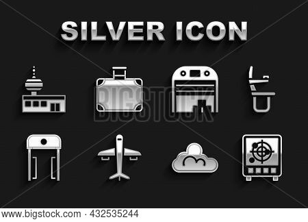 Set Plane, Airplane Seat, Radar With Targets On Monitor, Cloud Weather, Metal Detector In Airport, A