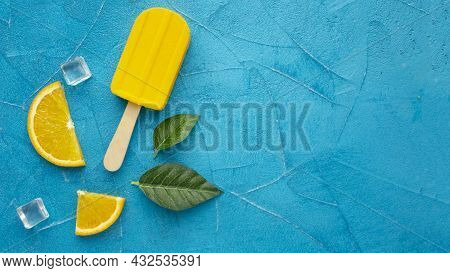 Copy Space Ice Cream With Orange Flavour. High Quality Beautiful Photo Concept