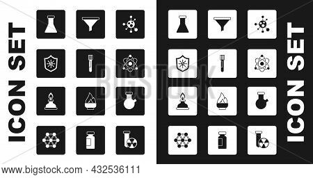 Set Molecule, Test Tube And Flask, Shield Protecting From Virus, Atom, Funnel Or Filter, And Alcohol