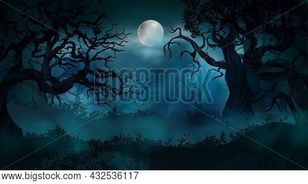 Realistic Halloween Background With Creepy Landscape Of Night Sky Fantasy Forest In Moonlight Vector