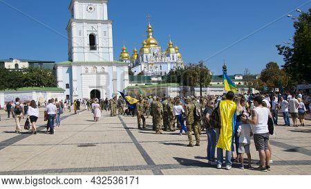 A Series Of Photographs From The Parade. March Of Veterans To Khreshchatyk. People In Military Unifo