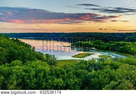 Scenic View Overlooking The Confluence Of The Kinnickinnic And St. Croix Rivers And Delta At Kinnick
