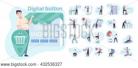 Button Set Of Flat Isolated Compositions With Small Human Characters Touching Digital Buttons For On