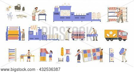 Set Of Isolated Textile Factory Icons With Flat Images Of Fabric Rolls Plant Facilities And Workers