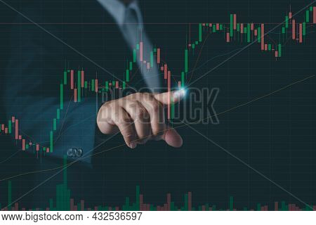 Businessman Or Trader Touch Virtual Hologram Stock , Planning And Strategy, Stock Market, Business G
