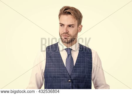 Neat Hairstyle For Classy Look. Unshaven Man With Stylish Hair Isolated On White. Hair Salon