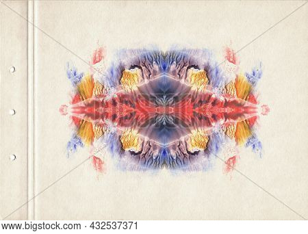 Card Of Color Rorschach Inkblot Test.blue, Red And Orange Symmetric Watercolor Spot. Fine Abstract P