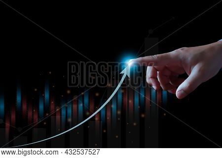 Businessman Analysing Forex Trading Graph Financial Data., Business Finance Technology And Investmen
