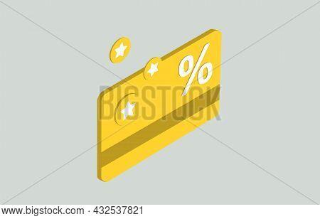 Cashback And Rewards Money Refund Program Isometric Concept. Loyalty Program And Retail Customer Mon