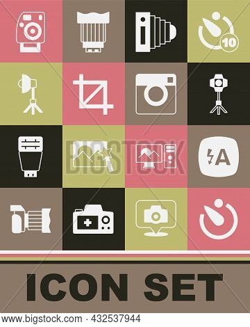 Set Camera Timer, Auto Flash, Softbox Light, Photo Camera, Picture Crop Photo, And Icon. Vector